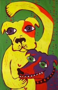 """""""Colourful Doggies"""" lino block"""