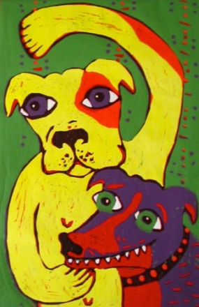 """Colourful Doggies"" lino block"