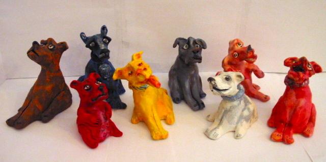 """""""Dogs"""" acrylic on clay"""