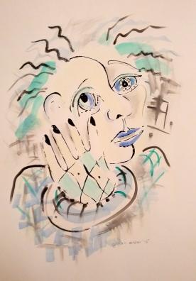 """""""Split-face"""" 2015, silkscreen and acrylic"""