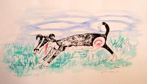 """Three Legged Dog"" 2015, silkscreen and acrylic"