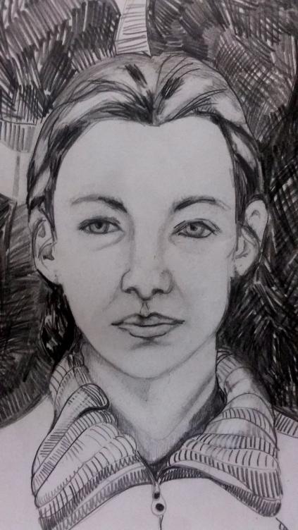 """""""Self-Portrait"""" pencil on paper"""