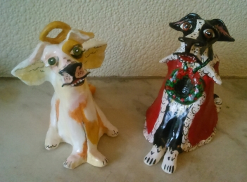 """Christmas Dogs"" acrylic on clay"