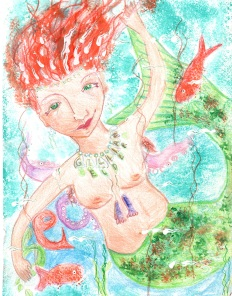 """""""Sea"""" Pencil crayon and paint on paper"""
