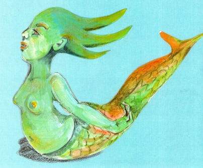 """""""Green Mermaid"""" pencil crayon, pen and acrylic on construction paper"""