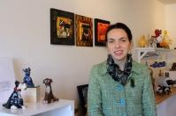 Standing beside my artwork displayed at 14 & a Half Gallery.