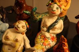 """Mermaids"" acrylic on clay"