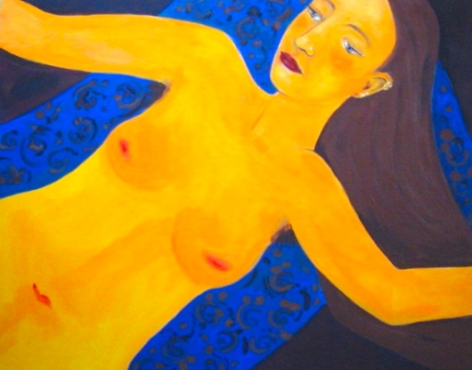 """Yellow Nude"" acrylic on canvas"