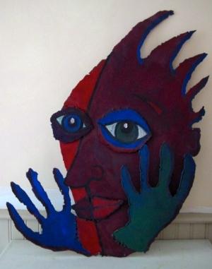 """""""Split Face"""" acrylic on metal"""