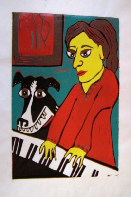 """Dog and Piano"" lino block"