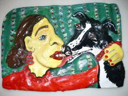 """Me and Moochie. """"The Kiss"""" acrylic on clay"""