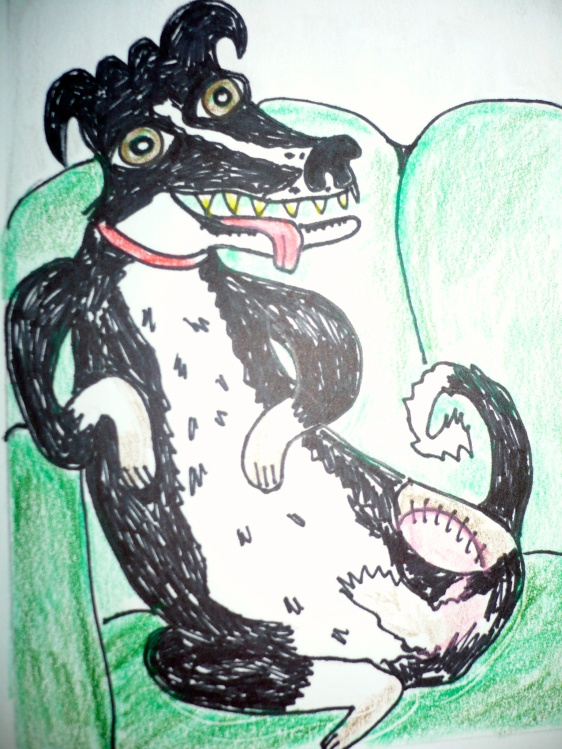 """""""Chillin 3 Legged Dog"""" pen and pencil crayons on paper"""