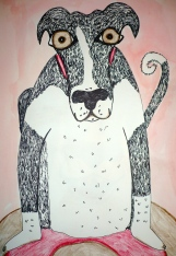 """""""Sitting Dog"""" pen and pencil crayons on paper"""