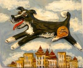 """Flying Dog"" acrylic on clay"