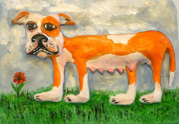 """""""Dog and Grass"""" acrylic on clay"""