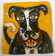 """Smiling Dog"" acrylic on clay"
