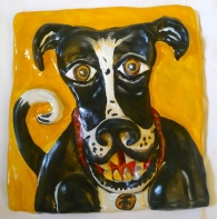 """Smiling Dog"" acrylic on clay"