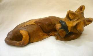 """""""Sleeping Dog"""" acrylic on clay"""