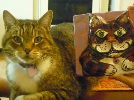 """Moe and Portrait. """"Moe"""" acrylic on clay"""