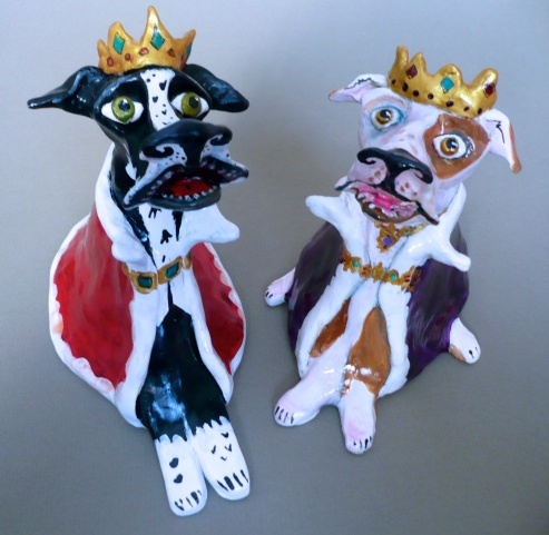 """Royalty Dogs"" acrylic on clay"