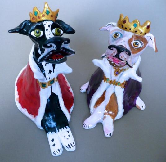 """Royalty Dogs"" acrylic on clay"