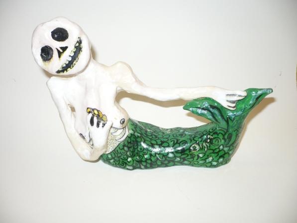 """""Skeleton Mermaid"" acrylic on clay"
