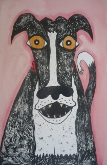 """Smiling Dog"" silkscreen and water colour"